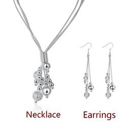 KASANIER новая мода 925 Серебряная змея цепи ювелирные наборы женская три линии ожерелье из бисера серьги наборы песка двойной петли женщины свадьба от