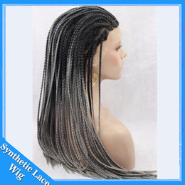 Wholesale Grey African Lace - Long Grey Ombre Braid Wig Synthetic Micro Braided Wigs Ombre Black to Grey Synthetic Braided Lace Front Wigs African American Braided Wig