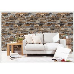 Wholesale Free Wallpaper Designs - Free shipping Modern 3D Brick Wall Sticker 9.5m*0.53m Wallpaper living Room Restaurant Bedroom Hotel Background Wall Decor Wallstick Paper