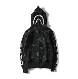 2019 hoodie do velo do camo Nova Chegada Tubarão Impresso Camo Preto Hoodies Das Mulheres Dos Homens Cardigan Hop Hip Hoodies Esporte Streetwear Camisolas Tamanhos M-XXL hoodie do velo do camo barato