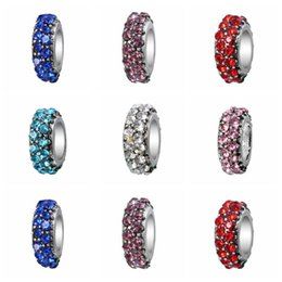 Wholesale Pandora Spacers - Austria Crystal Metal Beads For Jewelry Silver Crystal Spacers Charms Fit Pandora Charms Original Bracelet Free Shipping D694S