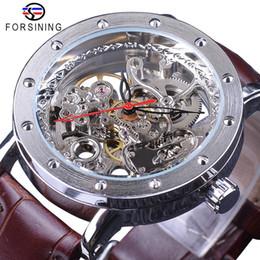 reloj esqueleto banda marrón Rebajas Forsining Estuche de plata Esqueleto Waches Hombre Marrón Banda de cuero genuino Resistente al agua Relojes automáticos para hombres de primeras marcas de lujo