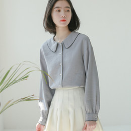 6689a738f43de0 Turn-down Collar Loose Cute Solid Summer Blouse Long Sleeve Shirts Women  2018 Cotton Chiffon Womens Tops and Blouses cute chiffon blouses promotion