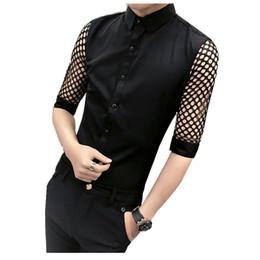 Wholesale Korean Night Fashion - Korean Men Slim Fit Shirt 2018 New Summer Fashion Lace Hollow Tuxedo Shirts Mens Half Sleeve Casual Night Club Singer Shirts Man