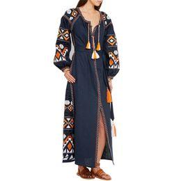 69855ae88890 Runway Dresses 2018 Women High Quality Vintage Ethnic Geometric Embroidery Long  Maxi Dress Autumn Long Sleeve A Line Vestidos