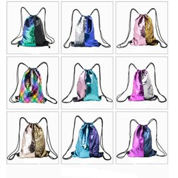 green body glitter Promo Codes - Mermaid Sequin Backpack Sequins Drawstring Bags Reversible Paillette Outdoor Backpack Glitter Sports Shoulder Bags Travel Outdoor Bags