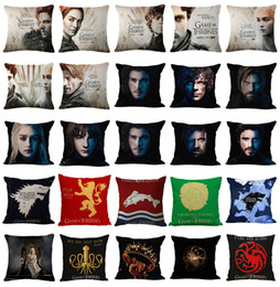 Wholesale Yellow Decorative Pillow Covers - New 45x45cm Game of Thrones Cushion Cover Cotton Linen Chair Bedroom Seat Decorative Pillowcase Square Pillow Car-Covers
