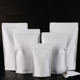 Papel de aluminio online-9x14cm Soporte blanco Papel Kraft Papel de aluminio Laminado Bloqueo de la cremallera Bolsa de embalaje de alimentos Paquete de sellado térmico Para hornear Caramelo Té Recierrables Bolsa