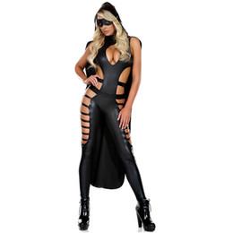 Черная искусственная кожа выдалбливают сексуальные костюмы женщин косплей комбинезон спандекс комбинезон эротическое боди с накидкой Pole Dance Club Wear от Поставщики сексуальные спортивные дни в косплей
