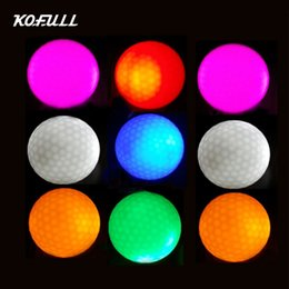 Wholesale Led Golf Balls - Kofull 10pcs Hi-Q USGA LED Golf Balls Night Training Constant Shining Two Layer Golf Practice Balls with 6 colors for choice