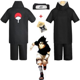 Canada Asiatique Taille Japon Anime Naruto Hokage Noir Uchiha Sasuke Cosplay Costume Unisexe Partie Uniforme Bandeau Shuriken Ensemble Complet Offre