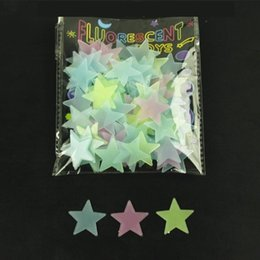Wholesale toys chart - 3 Colors 100pcs lot 3D Fluorescent Light Star Stereo Wall Sticker Toys For Children Creative Educational Toys Art Kids Toy CCA10132 60set