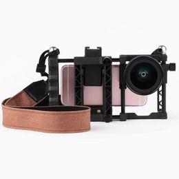 steadicam iphone Rebajas Cinemamount Universal Estabilizadores de Fotografía Set Soporte para Cine Gran Angular Macro Dos en Uno Lente Correa de Hombro para Smartphone