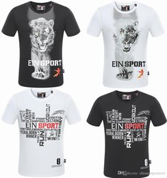 Wholesale Head Equipment - Brand Luxury Famous Men's T-shirts Man Tiger head Tees PleinSport Equipment short-sleeve Designer 3D Letter printed Gym cotton Slim For