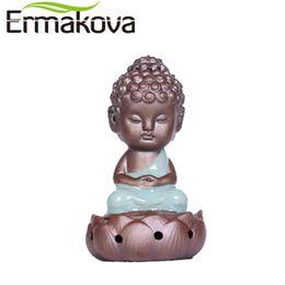 Wholesale porcelain home - Ermakova Ceramic Incense Burners Porcelain Buddha Monk Figurine Yoga Posture Tea Pet Succulent Plant Bonsai Garden Home Decor