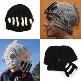 Wholesale Roman Winter Hat - Winter Funny Roman Cool Women Hats Knight Men Kids Beanies Knight Helmet Caps Keep Warm Roman Knight Hat Party Gift Free DHL D349S