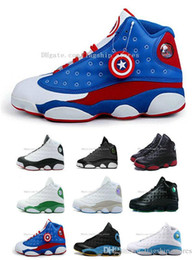 Wholesale America Mid - Captain America 13 Men Basketball Shoes White Royal Blue Red 13s High Quality XIII Women Sneakers Free Drop Shipping US5.5-13