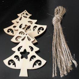 verdadeiras árvores de natal Desconto Enfeites de árvore de Natal de suspensão de madeira na árvore real em forma
