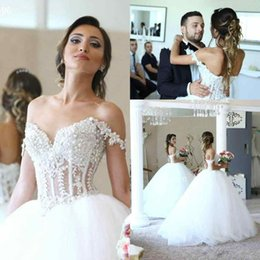 Wholesale Empire Waist Wedding Dresses Beaded - Luxury Beaded Lace Ball Gown Wedding Dresses Applique Off Shoulder Pearls Tiered Tulle See Through Waist Court Train Wedding Bridal Gowns