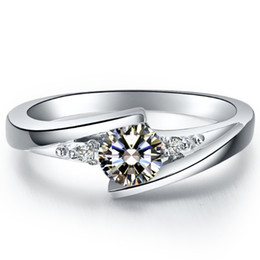 Wholesale Diamond Semi Mountings - Star twinkle 0.5ct synthetic diamond rings 925 sterling silver jewelry plated 18K white gold semi mount ring for bride settings infinity