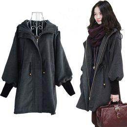 Wholesale Korean Women Xs Wool Coat - Korean Casual Fashion Women Show Slim Overcoat Jacket Coat Female Zipper Hooded Trench Woolen Warm Outwear Wool Coats YF86