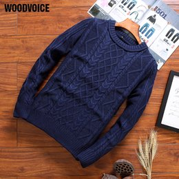 Wholesale Plain Pullover Sweater - Woodvoice 2017 Brand Clothing Hot Casual Sweaters Men's Plain Round Neck Slim Fit Elastic Knitting Pullover Black  Red  Blue