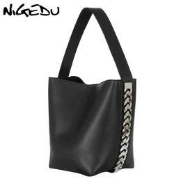 NIGEDU bolso grande de las mujeres Bolso de Hombro de Diseñador de lujo para Mujer Gran Bolsa de cubo de la PU de Cuero Versátil señora Totes negro desde fabricantes