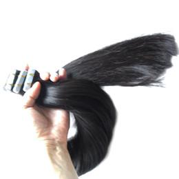 natürliche schwarze bandverlängerung Rabatt Natürliche Black Tape Extension 100% Unverarbeitete Brasilianische Reine Haar Haut Schuss Haar 200g 80 teile / satz band erweiterungen