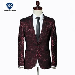 Wholesale Shiny Slim Fit Suits - Stylish Men Printed Blazer Masculina Slim Fit 2017 Wind Red Wedding Suit Blazers For Men Blue Shiny Black Jacket Stage Wear 5XL
