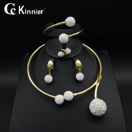 Jade ring set online-ganzer saleDubai Ohrring Goldfarbenhochzeitsschmucksachesatz Art und Weiseentwurf übertriebene Halskettenfrauen Brautafrikanische Korne stellt Armband-Ring ein