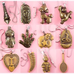 stainless steel guitar slide Coupons - Acrylic Pendant Stainless Steel Chain Clasp Mix 183 Styles Jesus Cross Love Heart Guitar Skull Animal Owl 12 Zodiac 26 Letters Lots (JP021)