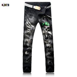 Wholesale Skulls Jean - Idopy Fashion Men's Skull Printed Jeans Hip Hop Mens Color Pattern Black Denim Pants Five-Pocket Jean Trousers For Men