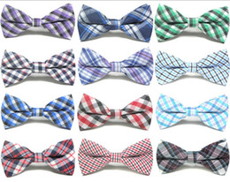 gold bowties Promo Codes - New Style Plaid Kids Bowtie Cotton Children Bowties Baby Kid Classical Pet Dog Cat Striped Butterfly Child Bow tie GA104