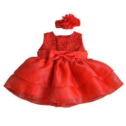 baby frocks designing Promo Codes - Vintage 1 2 Year Birthday Baby Girls Dress Little Girl Kids Frocks Designs Toddler Infant Children Party Clothes Baptism Dresses