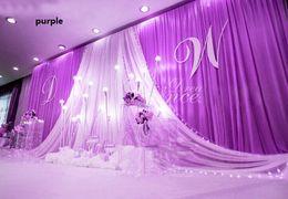 Voiles de mariage en Ligne-Goutte De Fond De Mariage Fête De Stade Célébration Fond Satin Rideau Drapé Plafond Toile de Fond Mariage décoration Voile WT079