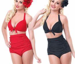 Maillot de bain à la taille haute en Ligne-2pcs / Set belles femmes taille haute Bikini maillot de bain deux pièces maillot de bain sexy maillots de bain à l'ancienne et point de vague style