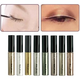 Wholesale Colors Stickers - 8 Colors lot Colorful Eye Liner Shadow Sticker Eyeshadow & Eyeliner Pen Shimmer Glitter Shining Cosmetics Makeup Colors Eyeliner