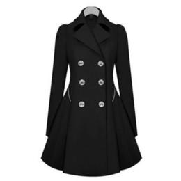 Abrigo gabardina mujer abrigo manga larga online-Abrigo largo de invierno Trench para mujeres Marca de doble botonadura de manga larga Slim Outwear Gabardinas Trench Overcoat Plus Size Mujer