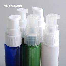 2019 pompa vuota di bottiglie dello shampoo Bottiglie di plastica PET vuote di colore blu 30ml Mini Traveler Contenitore per bottiglie di imballaggio della pressa per lozione Shampoo da bagno 10 pezzi / lotto sconti pompa vuota di bottiglie dello shampoo