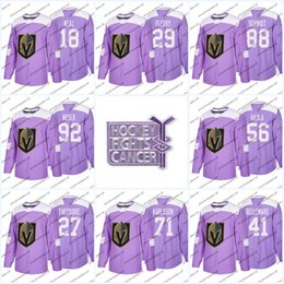 Wholesale Oranges Cancer - 18 James Neal Purple Fights Cancer Vegas Golden Knights 29 Marc-Andre Fleury 81 Jonathan Marchessault 71 William Karlsson Hockey Jersey