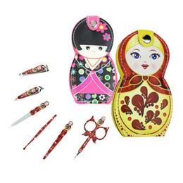 Wholesale wholesale doll kits - Japanese Russian Doll Shape Stainless Steel Nail Cuticle Clipper Scissors Pedicure Manicure Cleaner Grooming Kit Case Tool with Case