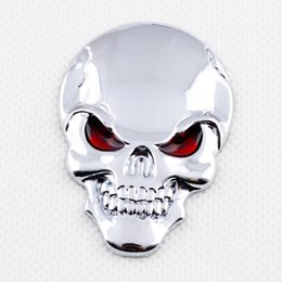 Wholesale car skull emblems - Car Chrome 3D Sticker Decal Emblem Badge CrossBones Skull Logo Trim Accessories