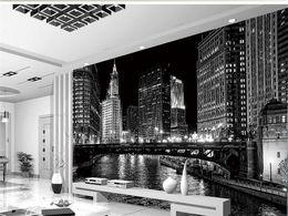 Wholesale Backdrop City - Custom 3D Mural Wallpaper Black And White City Night Landscape Murals Living Room TV Backdrop Wall Modern Simple Papel De Parede