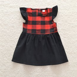 Wholesale Fly Briefs - Infants girls red plaids dress cute Fly sleeve sleeveless dress cute dress outfits for 1-5T ins hot