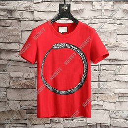 Wholesale Runway Designers - 2018 spring summer Designer clothing luxury Brand mens T-shirt letter simple snake tshirt t shirt Runway Tee Casual Top