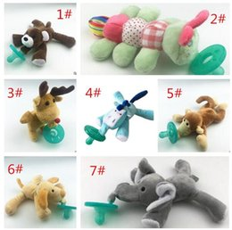 Wholesale Monkey Newborn - 13 STYLES Newborn Silicone Funny Baby Pacifier Clips Chain Animal Pacifiers With Plush Toy Soother Nipple Dog Monkey Worm HZ2