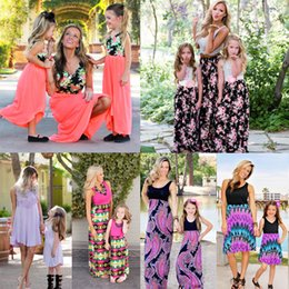 Wholesale sundresses for kids - Summer Dress Mommy and Me Family Matching Dress Mother Daughter Floral Sundress for Kid Women