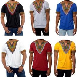 Wholesale African Clothing Men - 2017 Mens African Clothing Dashiki Style Cotton Printing Tops Man T Shirt