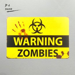 Wholesale Zombie Posters - DL-shabby chic Retro ZOMBIE WARNING METAL SIGNS garage wall sticker home decor outdoor poster and prints pub bar wall plaque