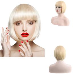 "Perucas curtas curly mulheres brancas on-line-10"" de alta qualidade loiro claro perucas curto encaracolado ondulado Perucas resistente ao calor sintético Bob peruca de cabelo para Sexy mulheres brancas"